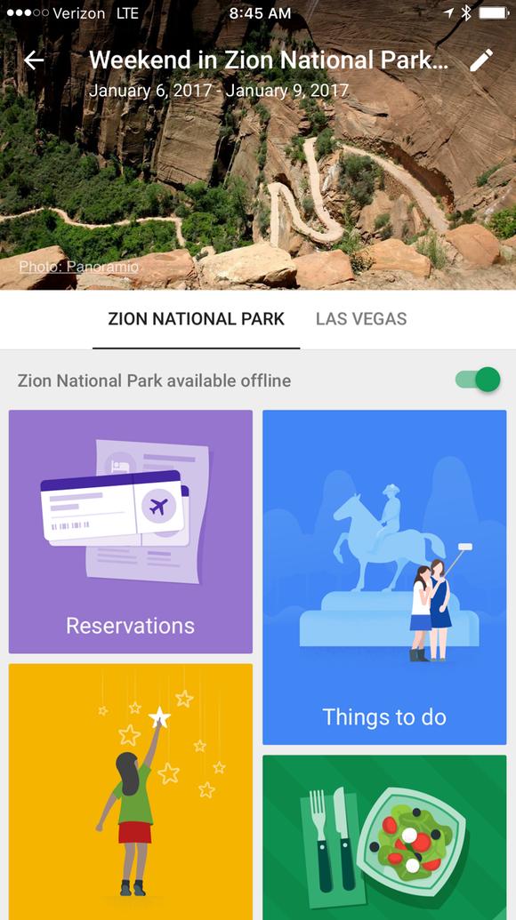 Google Trips screen shot