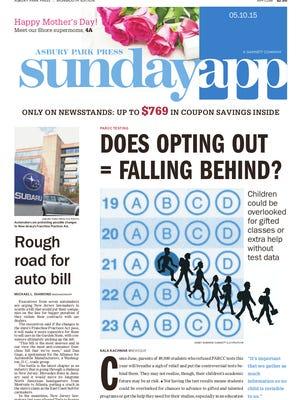 Asbury Park Press front page, Sunday, May 10, 2015