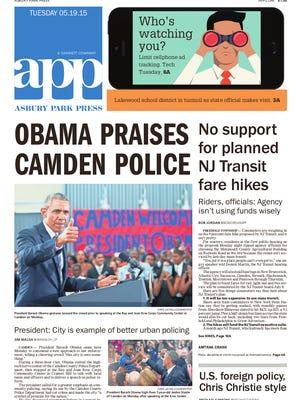 Asbury Park Press front page, Tuesday, May 19, 2015