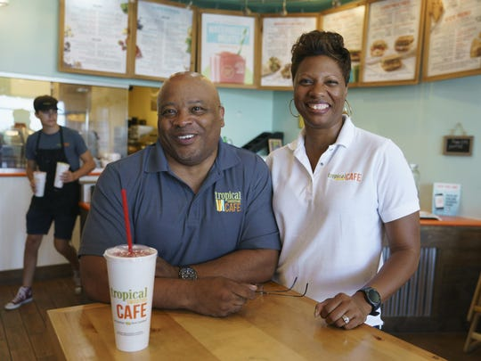 Nicole and Dennis Drake, co-owners of Tropical Smoothie Cafe franchises in Gainesville and Ashburn, Va., are photographed in their the Ashburn, Va., store.