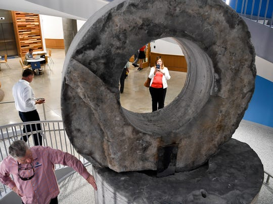 23) A cored stone sculpture is a centerpiece within the Wond'ry. According to the Wond'ry's website, builders needed to pull several large stones out of the ground to allow the building to access a tunnel that runs underneath Vanderbilt's campus. The building's architect saw these cored stones and used them as artistic homage to the building's history. Tuesday, May 16, 2017.