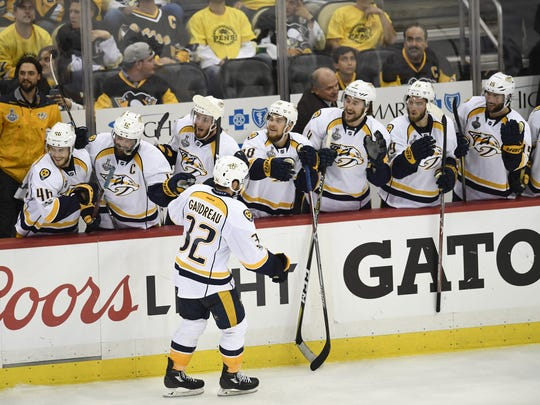 Predators forward Frederick Gaudreau (32) celebrates his goal during the third period of Game 1 of the Stanley Cup Final on Monday, May 29, 2017.