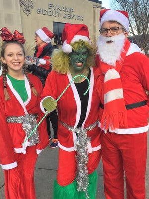 Santa Run – The 4th Annual Rotary Santa Run took place last weekend with nearly 600 participants, all decked out in Santa red. A contest of best outfit and spiritness was added to this year's event and celebrity judges Mayor Lloyd Winnecke, Sharon Kazee and myself had the job of making some difficult choices. Standing with Mayor Winnecke are The Grinch (Mary Elizabeth Small) and Cindy Lu (Malisse Stocker), winners in their respective divisions. Mark your calendar for the fifth Annual Rotary Santa Run December 1, 2018, including another best outfit contest on the schedule.