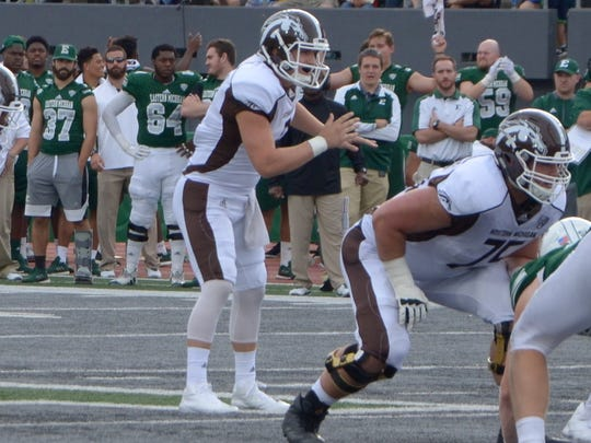 Western Michigan freshman quarterback Reece Goddard waits for the snap at Eastern Michigan on Oct. 21, Goddard will make his first career start when the Broncos host Central Michigan on Nov. 1.