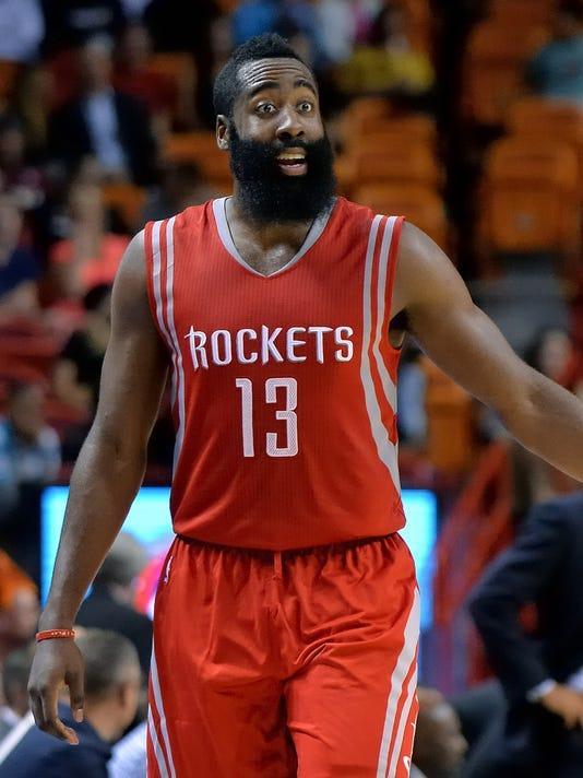 83a189703759 NBA  Preseason-Houston Rockets at Miami Heat. James Harden sings the  praises of playing ...
