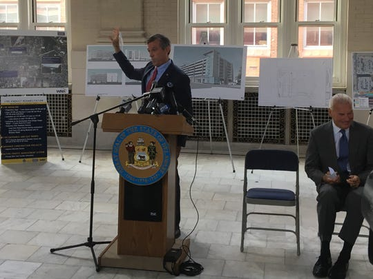 Delaware Gov. John Carney spoke at the Wilmington Amtrak