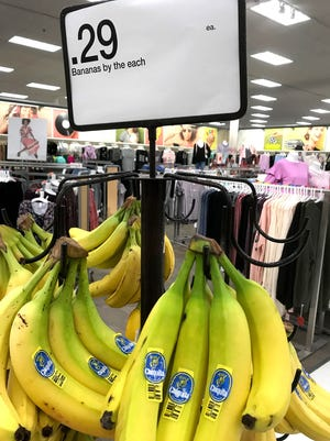 """Bananas by the each"" for sale for 29 cents each at a Target in Southfield, Mich."