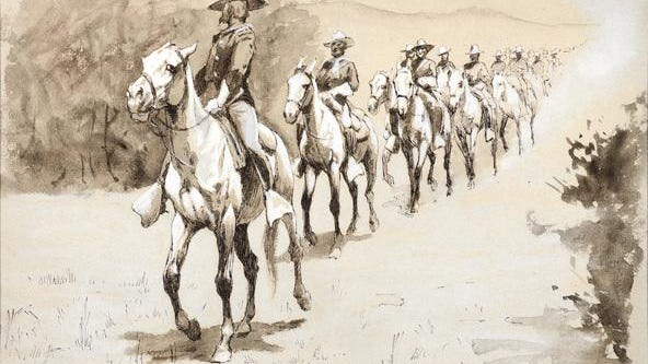 FREDERIC REMINGTON (1861–1909)In the Desert (1888)ink wash and gouache on paper10 × 13 inchesEstimate: $30,000-50,000