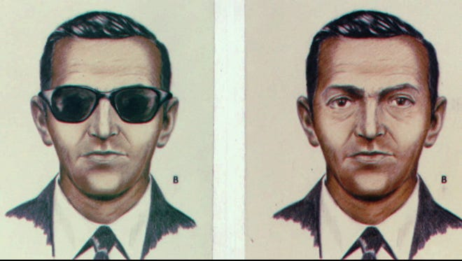 This is a 1973 file photo of a drawing of D. B. Cooper who became a legend when he jumped out of a Northwest Airlines Boeing 727 with $200,000 in ransom money 25-years-ago between Seattle and Portland, Ore.  Cooper hasn't been heard of since; however, some $5,880 of the loot was found along the Columbian River in 1980.