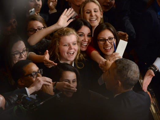 Congressional interns greet President Obama after he