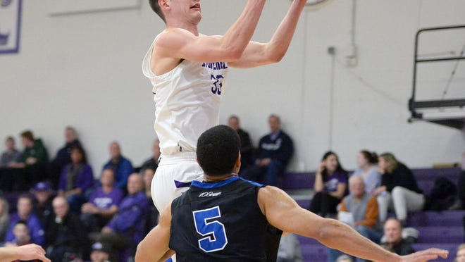 Stonehill's Will Moreton, was fouled by Bentley defender Chris Hudson, during their game on Wednesday, Feb. 5, 2020.