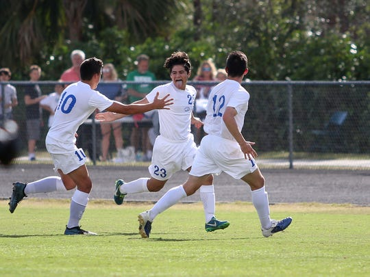 Canterbury's Austin Alley (23) celebrates his goal in the first half of the Region 1A-2 semifinal against Seacrest Country Day. The Cougars won 6-1 and will face St. Petersburg Shorecrest Prep in a regional final on Wednesday.