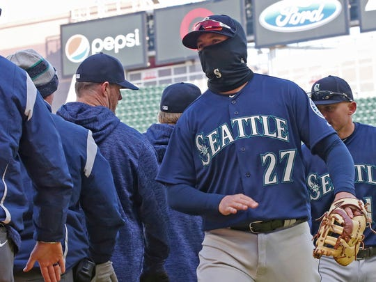 The Mariners played a game in Minneapolis on April  when the temperature was just 27 degrees.