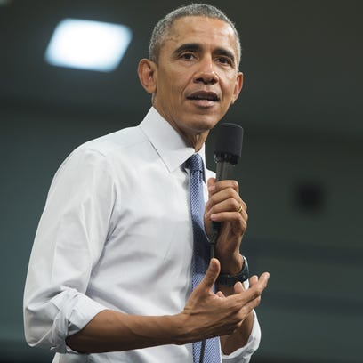 President Barack Obama speaks during a town hall event