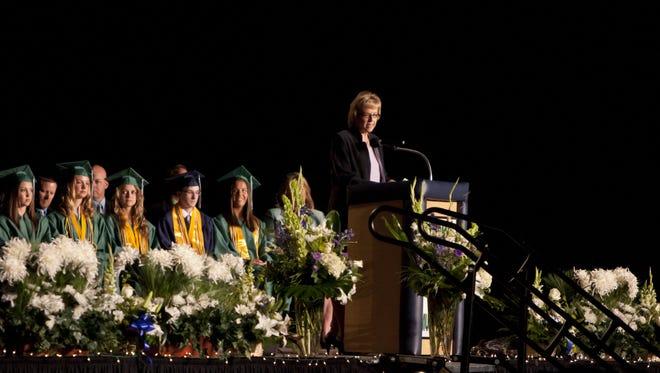 Principal Denise Hausauer speaks during a Damonte Ranch High School Graduation.