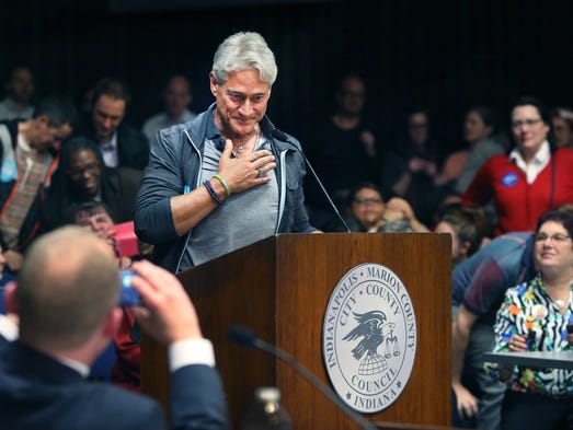 Olympic gold medalist diver Greg Louganis begins to