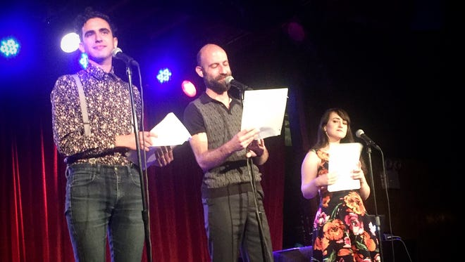 """Dylan Marron (from left), Cecil Baldwin and Mara Wilson of """"Welcome to Night Vale"""" on stage at the Bell House on June 10 in Brooklyn, New York."""