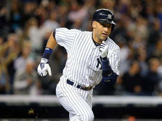 Derek Jeter, shown running out a double Monday, could be the first player unanimously voted into the Hall of Fame.