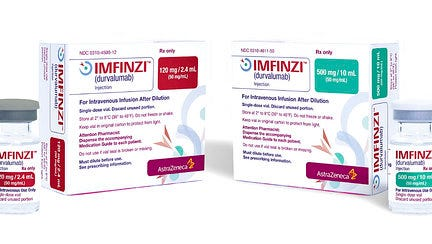 This image provided by AstraZeneca shows the company's drug Imfinzi, known chemically as durvalumab. On Monday, May 1, 2017, the Food and Drug Administration approved Imfinzi, part of the new generation of immuno-oncology drugs, which help the immune system to fight off cancer. The FDA also approved  a companion diagnostic test for identifying which patients are most likely to benefit from the drug.