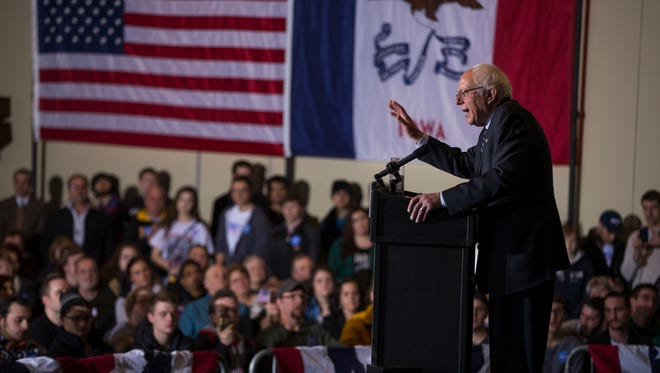 Sen. Bernie Sanders speaks during a campaign rally at Grand River Event Center on Jan. 29, 2016, in Dubuque, Iowa.