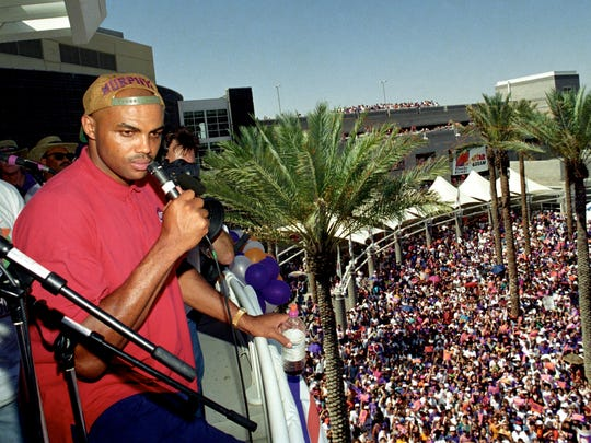 Charles Barkley came to Phoenix in a trade with the 76ers in 1992 and he promptly led the Suns to 62 wins and a Finals appearance. ... named MVP that year. ... an All-Star starter and All-NBA team in each of his four seasons in Phoenix. ... inducted into Ring of Honor on March 20, 2004.