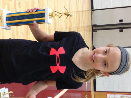 Megan Fix, of McConnellsburg, won the U14 girls championship at the Pa. State Elks Soccer Shoot Championship.