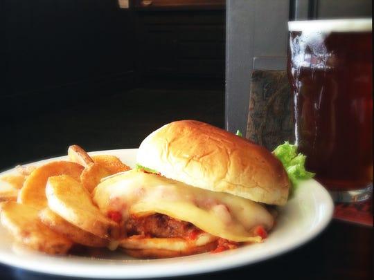 Broad Ripple Brewpub - Turkey Burger with Roasted Red Pepper Pesto