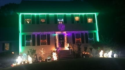 A Billerica home at 53 Harjean Road has been decked out in Halloween lights for the homeowner's annual fundraiser.