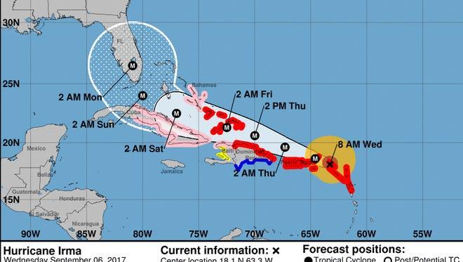 Forecast cone for Hurricane Irma as of 8 a.m. Wednesday, Sept. 6, 2017.