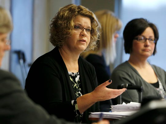 Former Republican state legislator Renee Schulte testifies Oct. 29 about her role with WellCare and its bid to manage Iowa's Medicaid program.