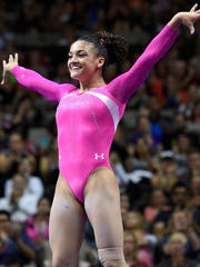 Laurie Hernandez, from Old Bridge, at the conclusion of her balance beam routine at the women's gymnastics U.S. Olympic team trials at SAP Center.