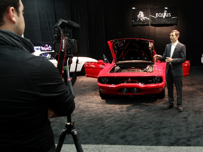Grand Prix race car driver Ian James introduced the 2015 Equus Bass 770 prototype vehicle to the media during the 2014 North American International Auto Show on Jan. 14 at Cobo Center in downtown Detroit.