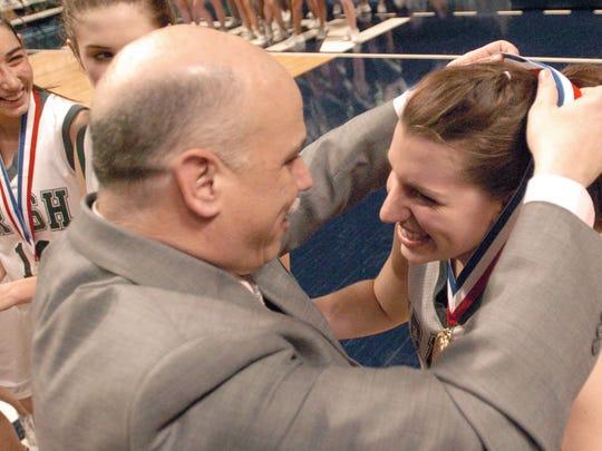 York Catholic girls' basketball coach Kevin Bankos