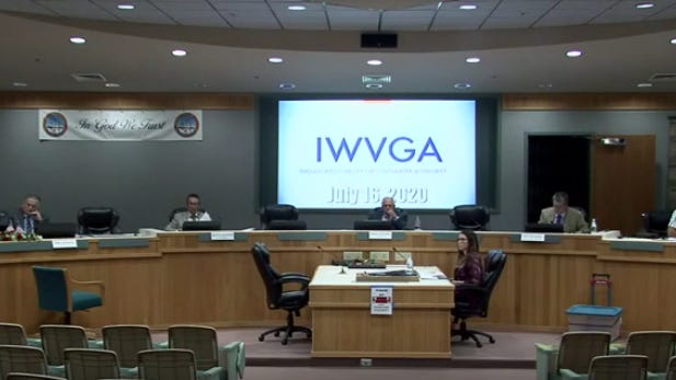 The IWVGA is seen in this screenshot from its most recent meeting July 16, 2020.