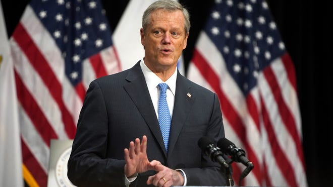 Gov, Charlie Baker speaks at a news conference Tuesday, Aug. 11.
