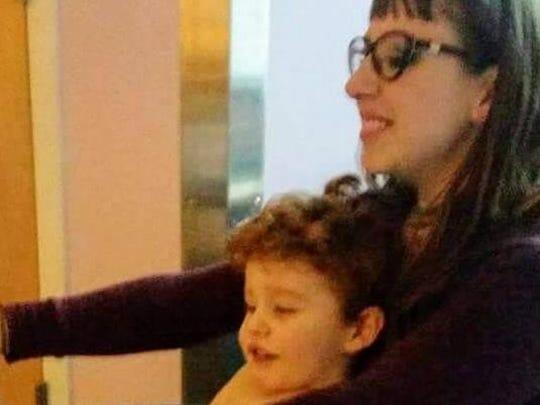 Abel, 3, with his mother, Jen Heggelke, 31, of Binghamton.