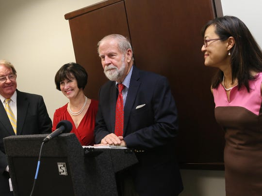 (left to right)Sherman Townsend, chair of the Delaware Institute of Medical Information and Research, known as DIMER, Insurance Commissioner Karen Weldin Stewart, Sen. Harris McDowell and Dr. Nancy Fan gather to announce funding has been restored to programs that serve as a pipeline for Delaware students to get through medical school.