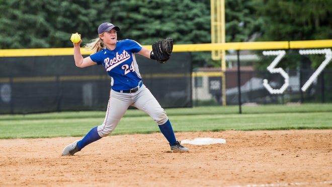 Spring Grove's Bri DiCandeloro thorws to first after fielding a ground ball during play against Central York on Wednesday, May 10, 2017. The Panthers defeated the Rockets 2-1 in 10 innings to clinch the Division I title.