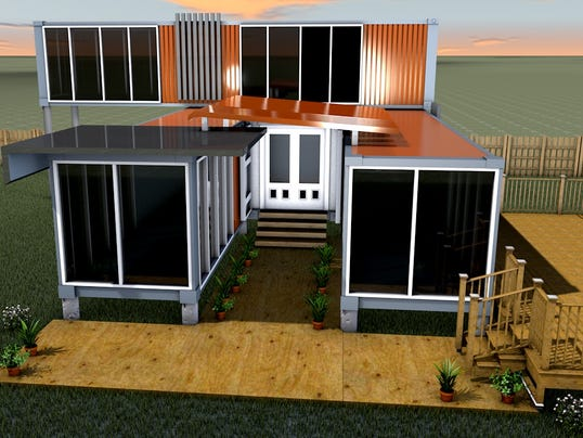 Shipping container homes take root in valley for Shipping container home plans 2 story
