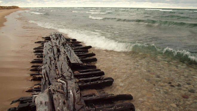 The bilge keelson from a shipwreck historians believe is the schooner Jennie and Annie, which sunk in the Manitou Passage in 1872. The fragment appeared on the Sleeping Bear Dunes shoreline in 2012.