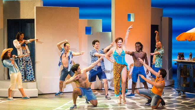 "The cast of ""Mamma Mia"" in a recent production of the touring version of the Broadway show. It will play a third Springfield run Oct. 28-29 as part of the show's farewell tour."