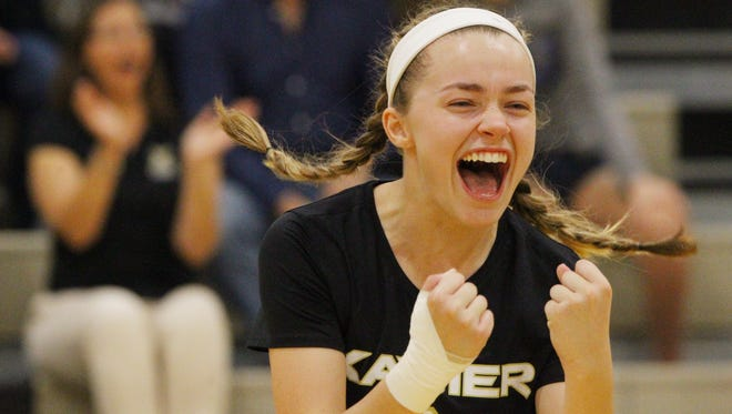 Xavier Prep's Jenna Braun celebrates her teams second round CIF playoff game against Vistamar in Palm Desert on November 2, 2017. The saints won in straight sets and advance to the quarterfinal match.