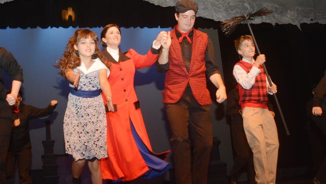 """Parker Elliott (left), Kassie Harlow, Kody Walker and Marshall Elkins star in the Lagniappe Theatre's production of """"Mary Poppins"""" set to open at 7 p.m. today at the Coughlin-Saunders Performing Arts Center. Kassie Harlow stars as Mary Poppins with Kody Walker as Burt. Performances are Sept. 11 through Sept. 13 and again Sept. 18 through Sept. 20 at 7 p.m. each night. Matinee performances are offered on Sundays, Sept. 14 and Sept. 21 at 2:30 p.m. Tickets are $20 for regular admission, $18 for seniors 55 and up, and $15 for children 12 and younger. Group rates are available. Call 318-48-STAGE or visit www.lagniappetheatre.com to purchase tickets. Tickets are also available Mon.-Fri. from 1-5 p.m. at the Coughlin Saunders Performing Arts Center or at the box office before each performance."""