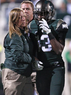 Michigan State Spartans cornerback Vayante Copeland (13) pictured has he walks off the field with an injury during the fourth quarter against the Oregon Ducks, is now good to play, Mark Dantonio says.