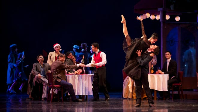 "Annia Hidalgo and Timothy O'Donnell reprise their roles as Musetta and Marcello in Milwaukee Ballet's revival of ""La Bohème."""