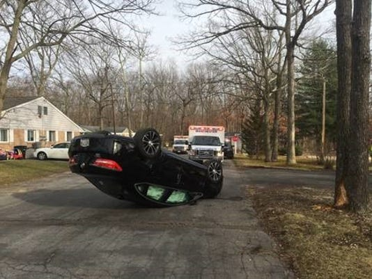 Cedar Glen West Overturned Car