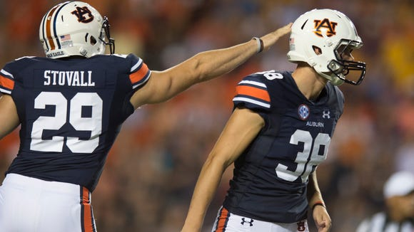 Auburn running back Tyler Stovall (29) celebrates with Auburn place kicker Daniel Carlson (38) after he hit a field goal during NCAA football game between Auburn and LSU Saturday, Sept. 24, 2016, at Jordan Hare Stadium in Auburn, Ala.