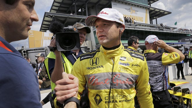 FILE -- IndyCar driver Townsend Bell (29) following his qualifying run for the 100th running of the Indianapolis 500 Saturday, May 21, 2016,