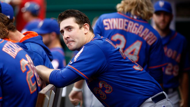Sep 26, 2015; Cincinnati, OH, USA; New York Mets starting pitcher Matt Harvey takes a breather after leaving the game in the seventh inning against the Cincinnati Reds at Great American Ball Park. Mandatory Credit: David Kohl-USA TODAY Sports