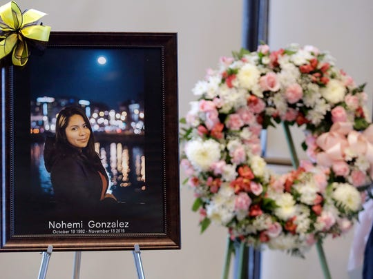 A picture is displayed during a memorial service for California State Long Beach student Nohemi Gonzalez on Sunday, Nov. 15, 2015 in Long Beach, Calif., who was killed at restaurant in Paris on Friday night after being shot by terrorists. (AP Photo/Chris Carlson)